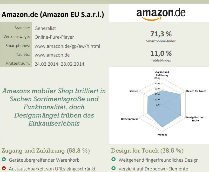 Beispielinhalt Mobile-Usability-Report: Kurzübersicht Amazon. Quelle: http://www.ecckoeln.de/Downloads/Themen/Mobile/MobileWebCommerce_ExecutiveSummary.pdf