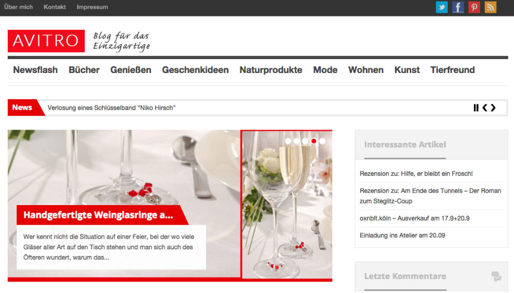 Screenshot Avitro Blog von Ronald Rassmann